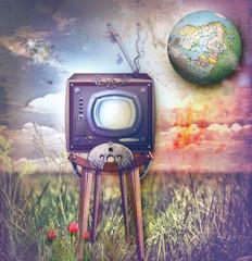 Fantasy landscape with vintage television