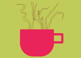 A cup of coffee  with smoke.Vector illustration