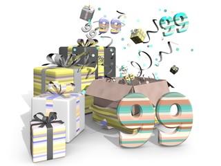 Feest met cadeaus voor de negenennegentigste