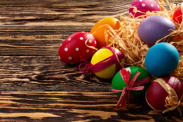 Easter eggs on a sunny day