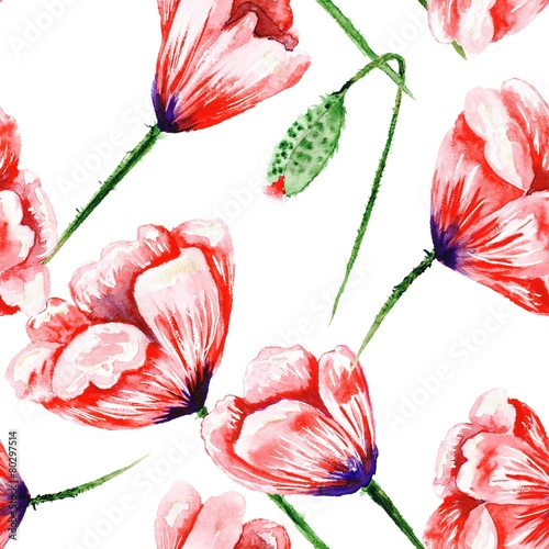 Red hand-painted poppy pattern - 80297514