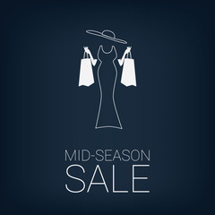 Mid season sales poster. Fashion clothes discounts. Elegant
