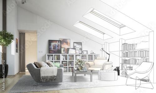 Leinwandbild Motiv Dachgeschoss-Ausbau (Entwurf)