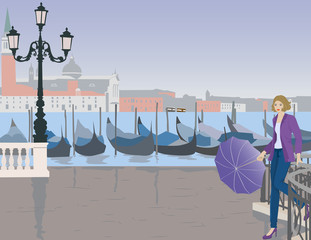 the girl with the umbrella in Venice