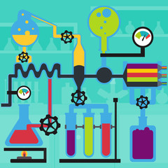 Chemistry laboratory experiment flat design