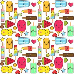 Kawaii popsicles ice cream seamless pattern