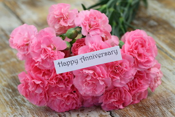 Happy Anniversary card with pink carnations