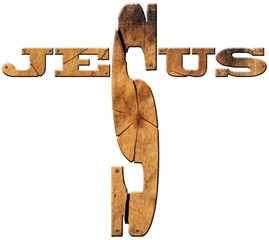 Text Jesus - Wooden Cross