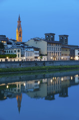 Arno River in Florence at night
