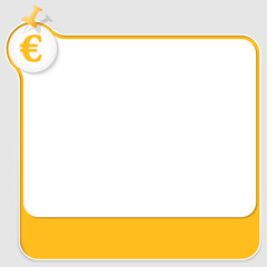 yellow text box with pushpin and euro symbol