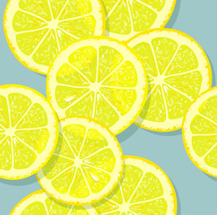 Fresh pattern with lemon slices on gray background