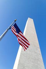 Washington monument and the USA flag.