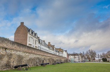 Old houses on the surrounding city wall in Maastricht