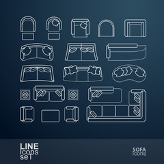Set of sofa line icons, vector illustration