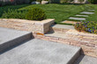 natural stone stairs in a beautiful home garden - 80302947