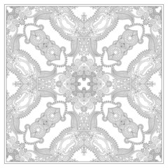 unique coloring book square page for adults - floral carpet desi