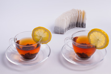 Two cups of black tea