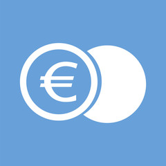 Euro coin white icon