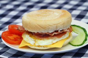 Egg and bacon muffin, closeup