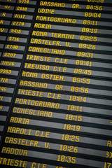 Departure board on the train station in Venice, Italy