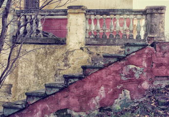 old staircase, a stylized photo by vintage