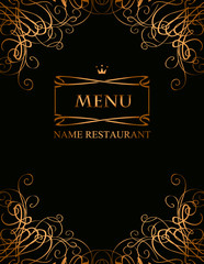 banner for the menu with curls on a black background