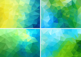Fototapety blue and green low poly backgrounds, vector set