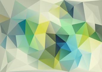 abstract blue and green low poly background, vector