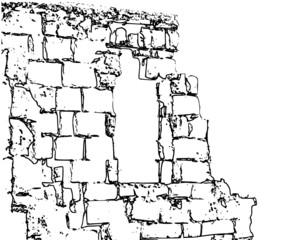 Zeichnung Ziegelmauer Ruine mit Durchbruch