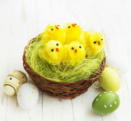 Chickens in a Nest.Easter Concept