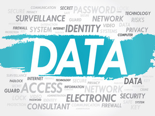 DATA word cloud, security concept
