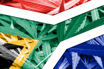 South Africa Flag on cannabis background. Drug policy