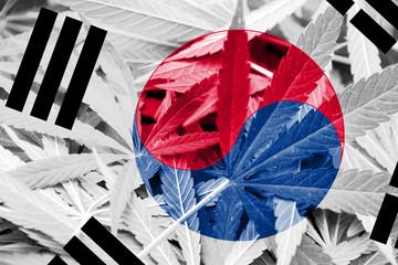 South Korea Flag on cannabis background. Drug policy