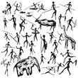 set of vector rock paintings with scenes of hunting and life - 80305330