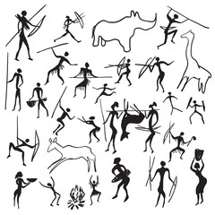 set of vector rock paintings with scenes of hunting and life