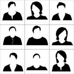 Black women icons. Raster.