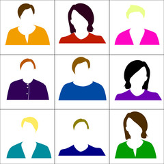 Colored icons women. Raster.