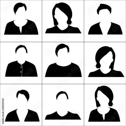 Black women icons. Raster. - 80305520