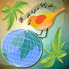 Ecological or peace vector illustration with little bird sitting
