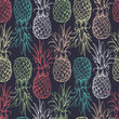 Постер, плакат: Pineapples seamless pattern
