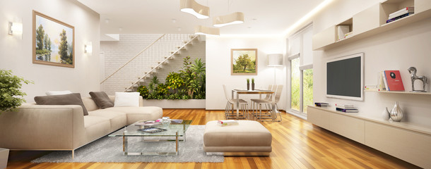 Modern living room and staircase