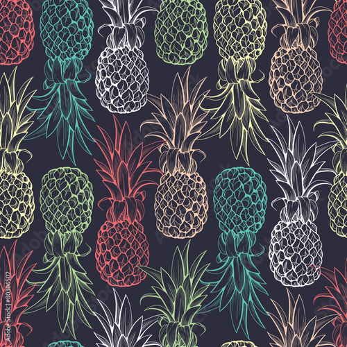 Pineapples seamless pattern - 80306502