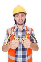 Young construction worker with nippers isolated on white
