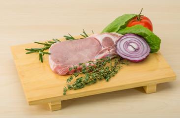 Raw pork steak