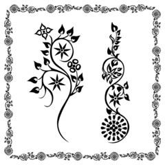 swirling silhouette flower Frame floral