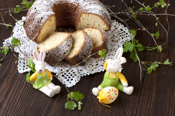 Easter still life with cake and  rabbit
