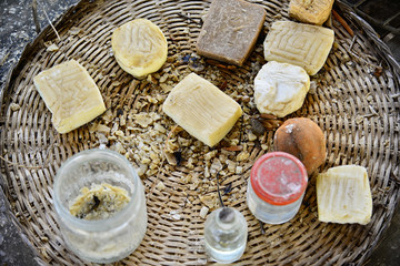 Making soap in the old way with animal fat