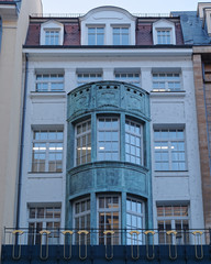renovated old office building facade, Leipzig, Germany