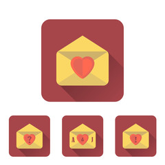 Love letter flat icons set with long shadow