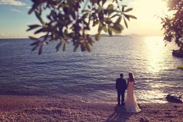 bride and groom on the beach near the sea